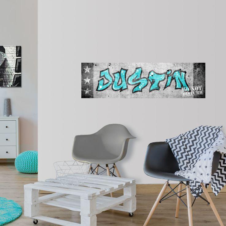 Je eigen naam als graffiti. Met deze stoere muursticker is het een fluitje van een cent... Een gaaf idee voor de jongenskamer en meidenkamer!
