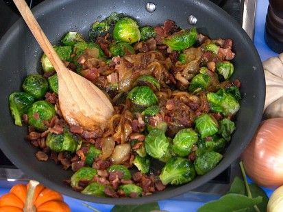 You voted and you got it. Here is the recipe for Pan-Roasted Brussels Sprouts with Caramelized Onions and Crispy Pancetta that I made on Good Morning America this morning. Great for a holiday side dish #EmerilsHoliday