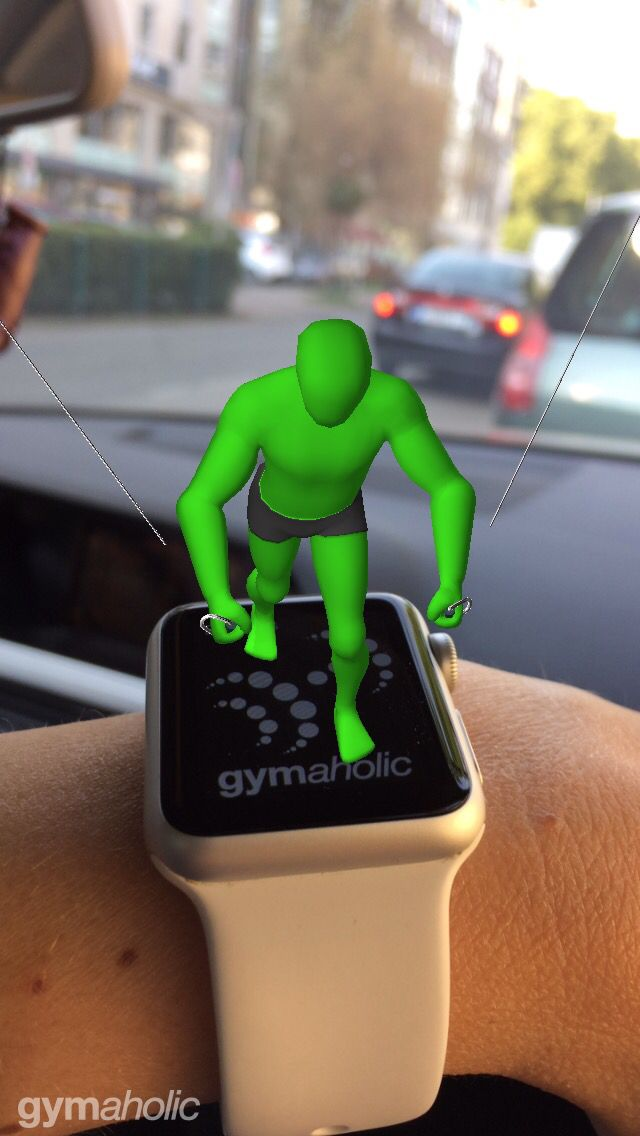 How cool is that! This guy stands in 3d on my watch!!!!!! Check out the new version of Gymaholic. No Apple Watch no problem: project the animation onto a printed Gymaholic image. Info in the app #augmentedreality #watchos3 #ios10 #iphone #ipad #applewatch #fitness #gym #gymaholic