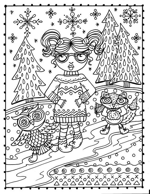 Winter Woodland Wonderland Coloring Book Digital Printable Etsy Owl Coloring Pages Coloring Books Christmas Coloring Pages