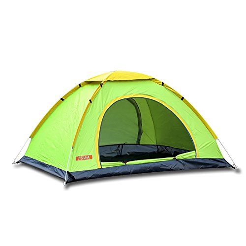 Pop Up Camping Tent by TSWA  Automatic  Instant Setup Dome Waterproof Tents for Backpacking 34 Person Portable Pack for Hiking Shelters Green * You can get additional details at the image link.