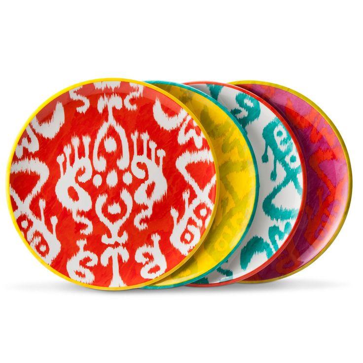 Ikat Print Melamine Assorted Dinner Plate Set 4-pc - Multicolored