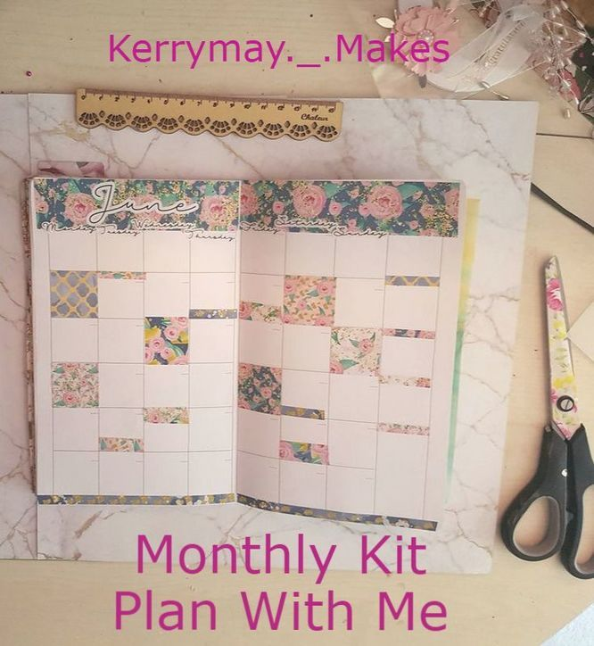 Monthly page spread and layout plan with me in my travelers notebook using a Monthly kit from www.hazydaysuk.etsy.com (PWM process video) - Kerrymay._.Makes