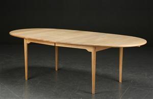 Vare: 3949824Marianne Wegner. Spisebord af massiv sæbebehandlet eg, udtræk og plader, model CH 328 (3)