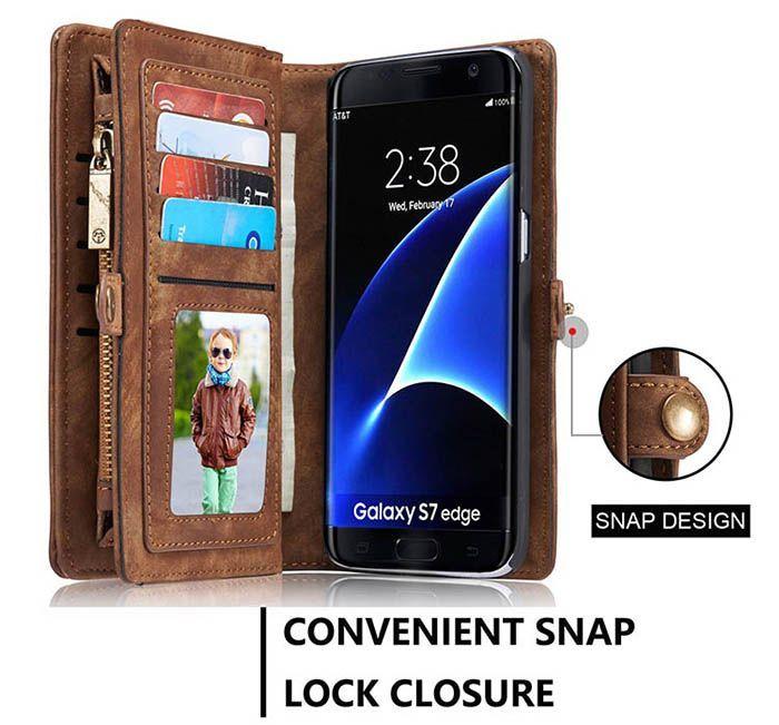 Caseme Samsung Galaxy S7 Edge Geldborse Mit Reissverschluss Abnehmbare 2 In 1 Schutzhulle Braun Samsung Functional Wallets Leather Wallet Case Zipper Wallet