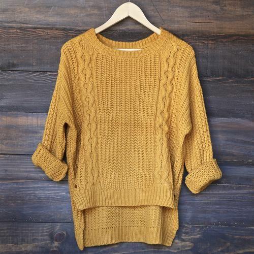 hi-lo cable knit sweater - mustard - shophearts - 1