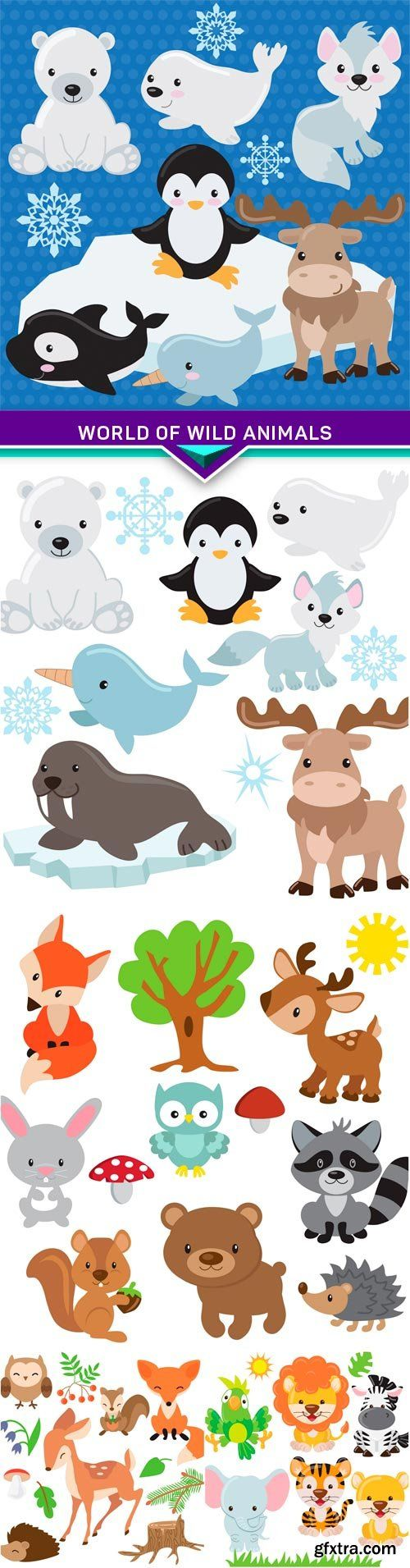 World of wild animals 5X EPS