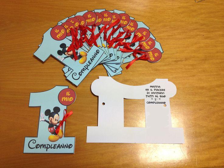 Biglietto Invito Primo Compleanno Mickey Mouse