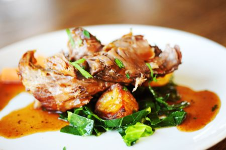 Slow Roasted Lamb on Sage infused Potato & Butter Wilted Spring Greens