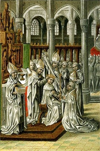 The Coronation of Henry IV Plantagenet, King of England from 15th Century Manuscript of Jean Froissarts Chronicles: My 18th GGF