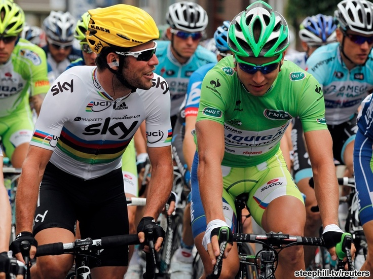 Cavendish and Sagan at the start of 2012 tour-de-france photos stage-02