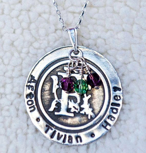 Silver Monogram With Family Names and Swarovski Element Birthstone Beads on a Sterling Silver Necklace - Get 10% OFF with coupon code PINIT when purchasing on Etsy