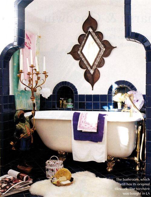 Looove that mirror | Eastern Luxury: 48 Inspiring Moroccan Bathroom Design Ideas | DigsDigs