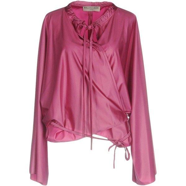 Balenciaga Blouse (1.880 RON) ❤ liked on Polyvore featuring tops, blouses, mauve, purple long sleeve blouse, purple top, long sleeve blouse, mauve blouse and purple long sleeve top