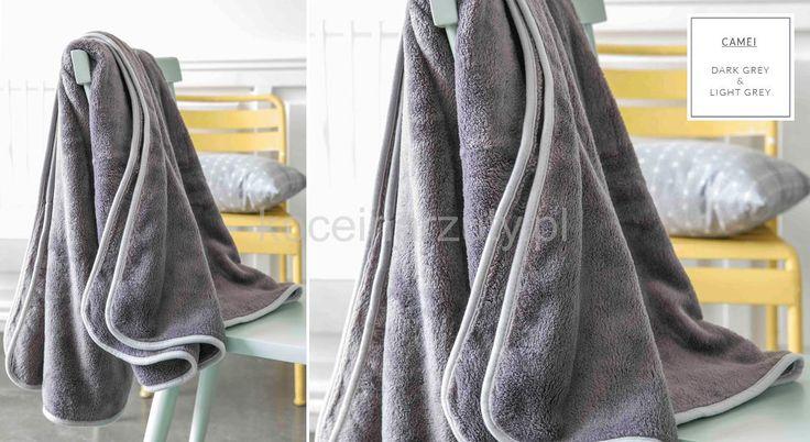 Francuskie pluszowe szare koce do sypialni