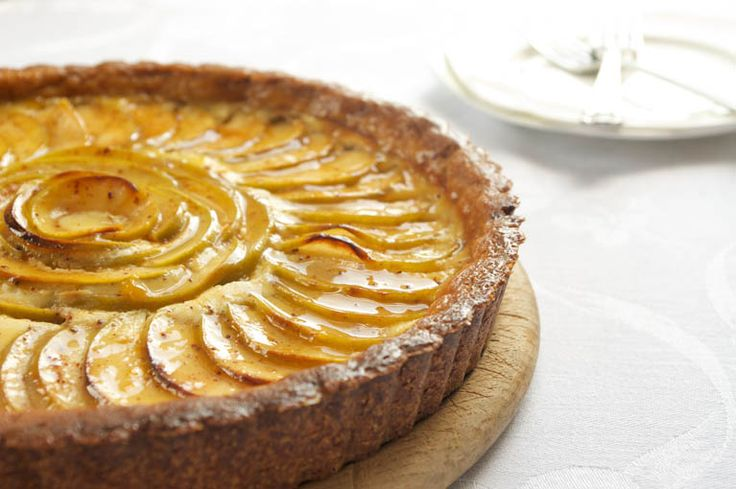 Apple-Cheesecake Tart with an Almond Crust & Salted Caramel Glaze | R ...
