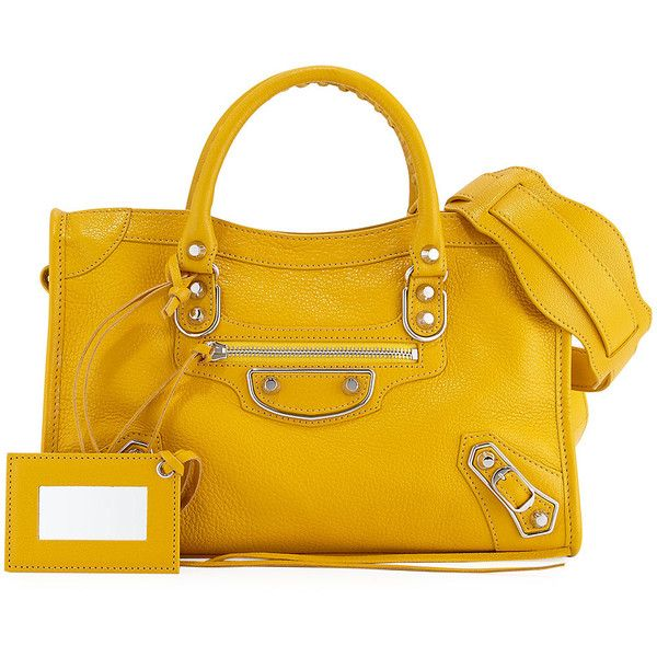 Balenciaga Edge City Small Tote Bag ($1,435) ❤ liked on Polyvore featuring bags, handbags, tote bags, yellow, zip tote, handbags totes, zipper tote, yellow tote bag and zippered tote bag