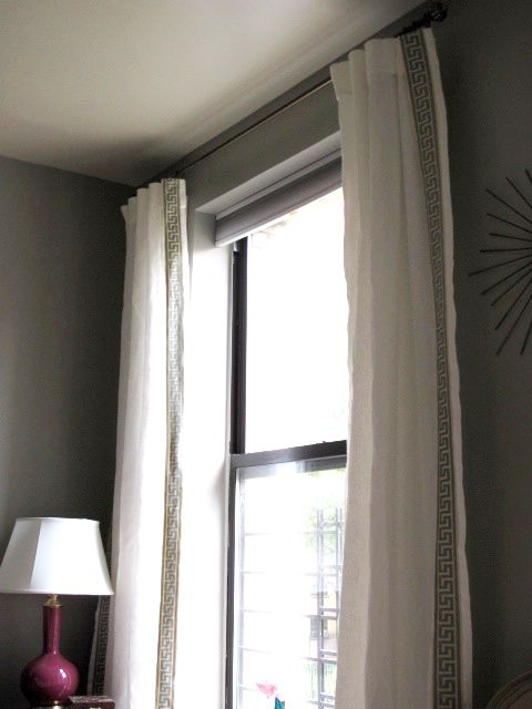 Ikea Aina Linen Curtains With Greek Key Trim Sewn On