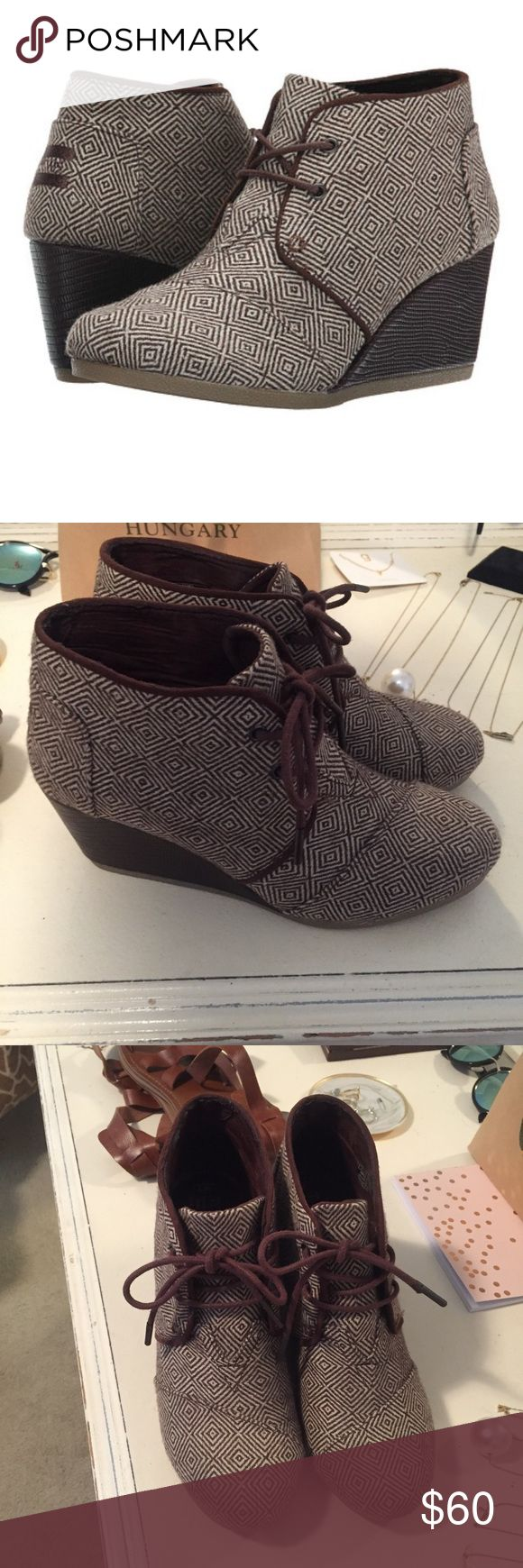 Toms desert wedge brown woven diamond booties Only worn a few times. In perfect condition! They are super comfortable! Fit true to size! TOMS Shoes Wedges