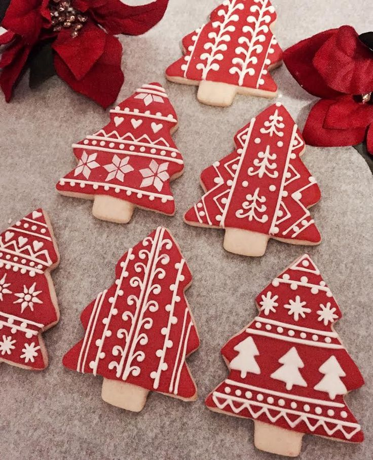 Nordic Christmas trees; decorated sugar cookies
