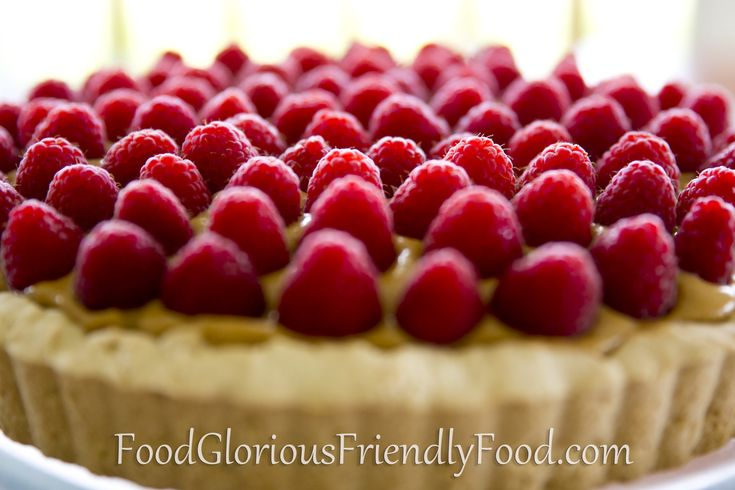 Raspberry Lemon Butter Tart.  A wonderful special-occasion dessert.  Free from gluten and nuts.  Can be dairy free and refined sugar free.  http://www.foodgloriousfriendlyfood.com/blog-and-recipes/raspberry-lemon-butter-tart