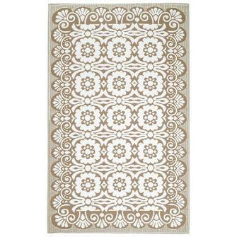 Buitenkleed bloem beige/wit 150x240 cm | (Gras)tapijt | Tuin- & balkonaccessoires | Tuin | KARWEI