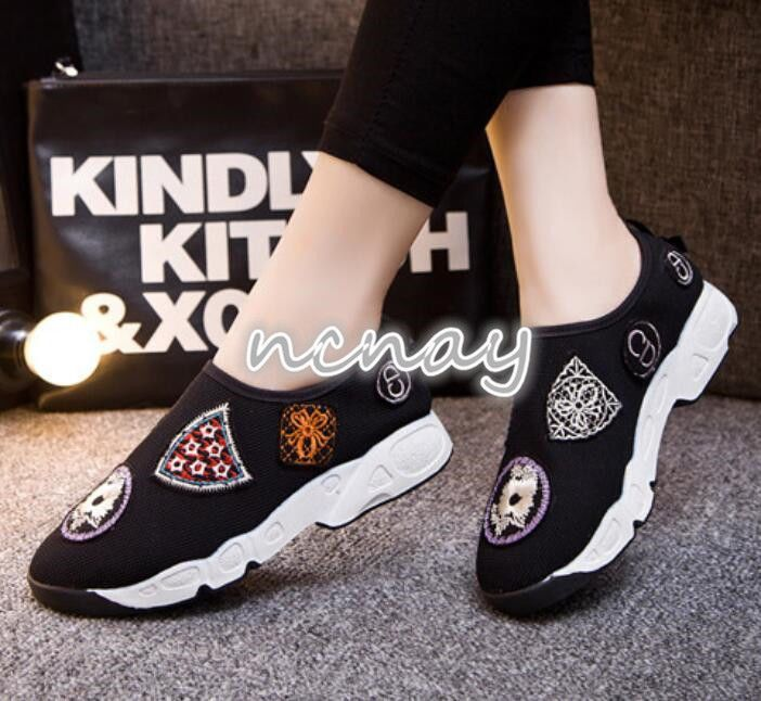 Womens Slip On Embroidery Sneakers Altheletic Runing Shoes Walking Mesh Shoes 8