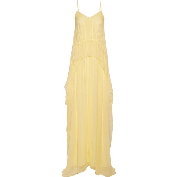Elizabeth and James Catriona ruffled silk-crepon gown ($630) ❤ liked on Polyvore featuring dresses, gowns, beige evening dress, beige dress, pastel gown, flutter-sleeve dresses and elizabeth and james gown
