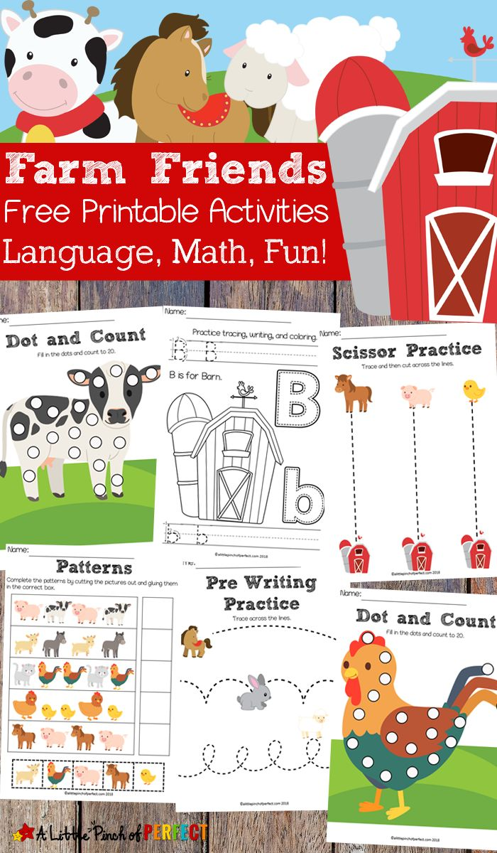 Free Farm Friends Printable Activity Pack: Language Math and Fun -A Little Pinch of Perfect