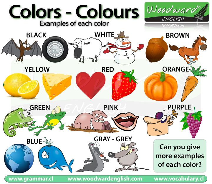 Examples of each color in English