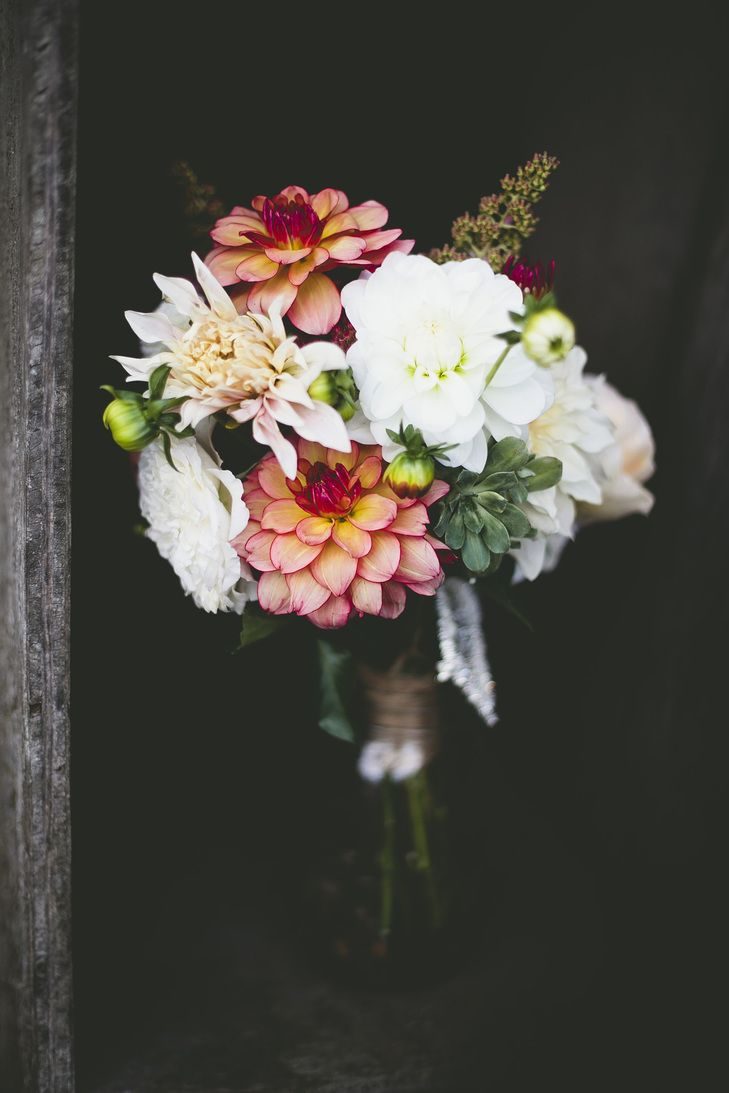 Dahlia and Zinnia Colorful Bouquet