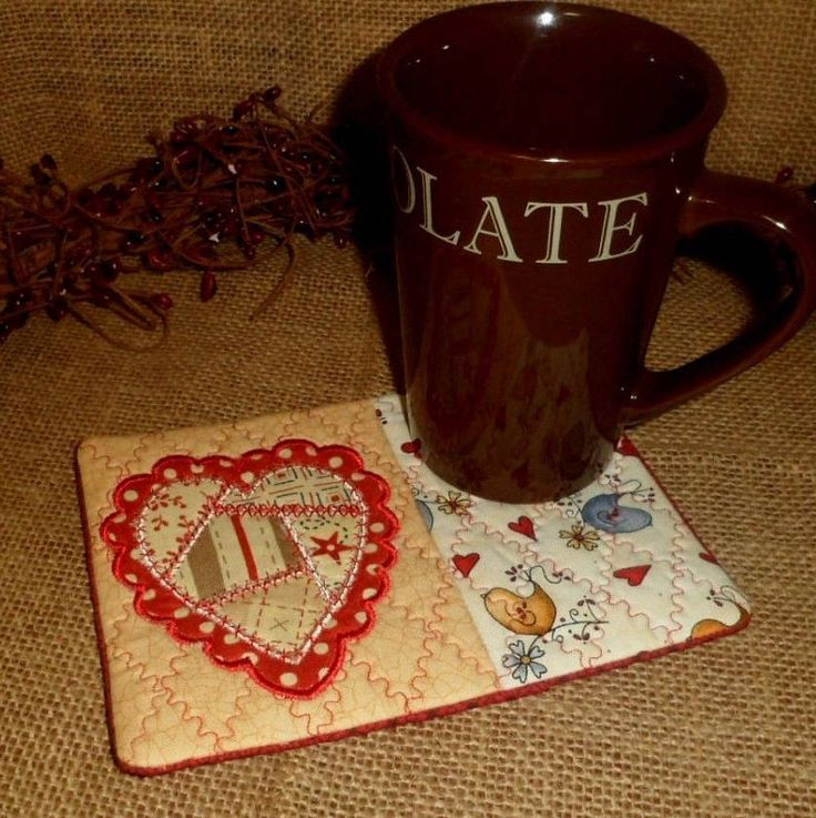 Quilted & Embroidered Mug Rug Mat Coaster Placement Heart Birds Primitive Country Home Decor by AGEDCRACKLEPRIM on Etsy