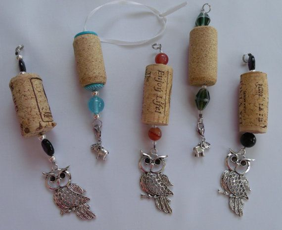 Custom Made Wine Cork Ornaments with Personalized Charms. Upcycled by TheCorkyBead, $5.50
