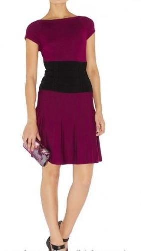 Magenta Black Multicolor Karen Millen Knit Ruffle Dress [10003] - $98.19 :