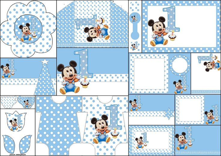 Mickey Primer Año con Lunares: Invitaciones para Imprimir Gratis.