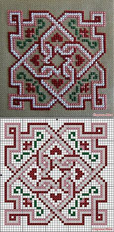 Cross-stitch Biscornu... no color chart available, just use pattern chart as your color guide.. or choose your own colors... Схема