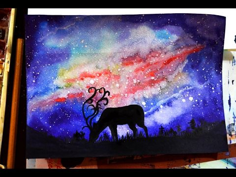 Watercolor and Gouache.(Painting) Deer Galaxy.Акварель и гуашь.
