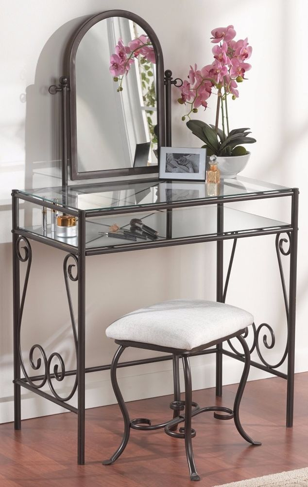 Pair Bed Stools: Sturdy Traditional Glass Top Metal Bedroom Vanity Set