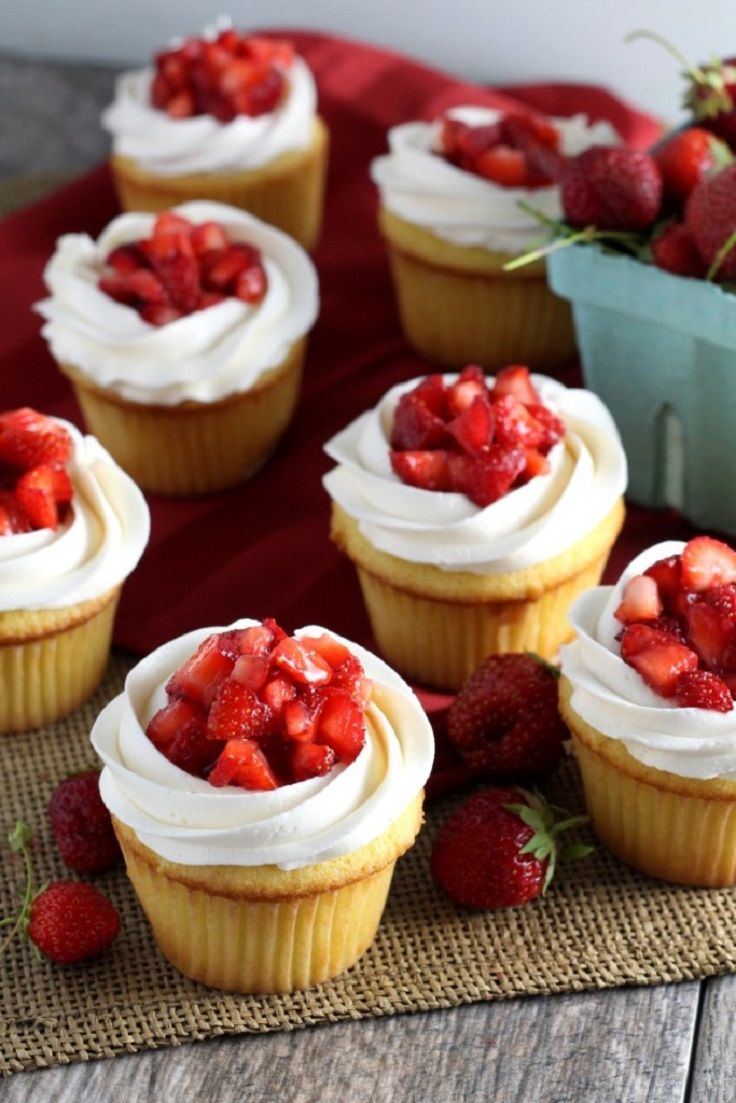 Strawberry Shortcake Cupcakes - 15 Extra Creamy Vanilla Cupcakes that You Can Easily Make on Your Own