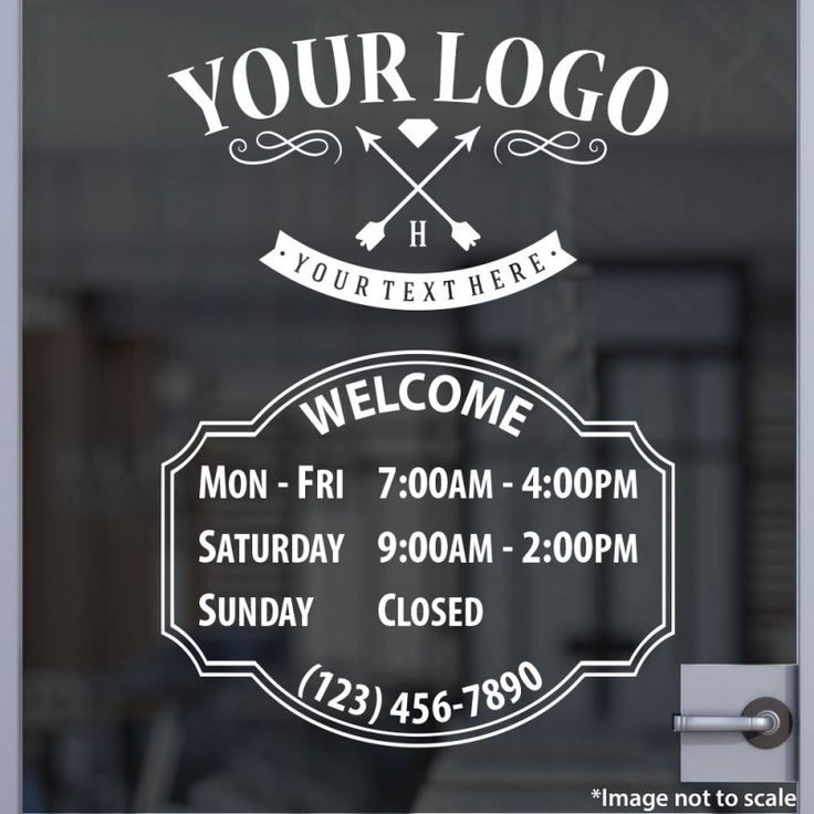 Best Single Color Business Open Hour Decals PLUS LOGO Images - Window stickers for business hours