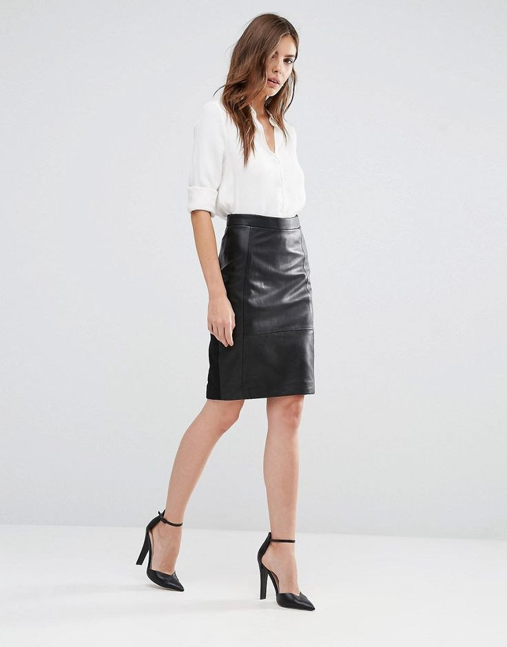 Image 1 ofReiss Avril Leather/Ponte Skirt