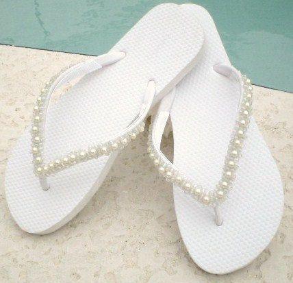 White HandBeaded Pearl Flip Flops by TooFlippinCute on Etsy, $60.00