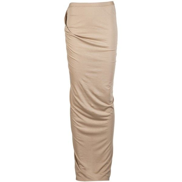 Rick Owens Lilies Long Skirt ($218) ❤ liked on Polyvore featuring skirts, bottoms, nude, brown, beige maxi skirt, long brown skirt, long floor length skirts, straight maxi skirt and long straight skirt