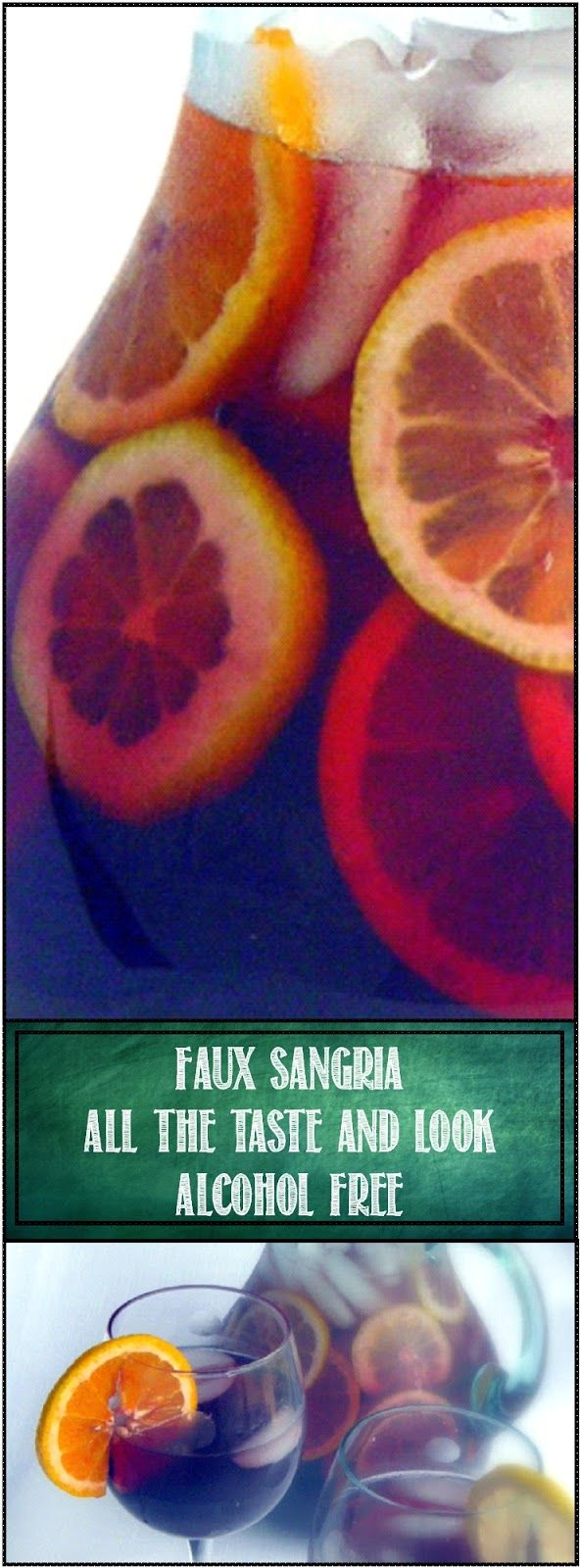Faux Sangria - Sparkling Iced Tea, Alcohol Free BUT all the Taste and look of Sangria... Sometimes non booze drinkers feel left out... But not with a big pitcher of this . The look and even the taste of Sangria but totally Alcohol Free... Looks Good and TASTES GREAT!!!