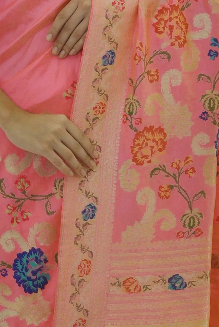 Carnation Pink Gashir Meenakari Zari Hand Woven Pure Silk Saree