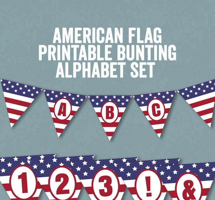 DIY Printable American Flag Bunting USA for Summer Parties - Full Alphabet/Numbers