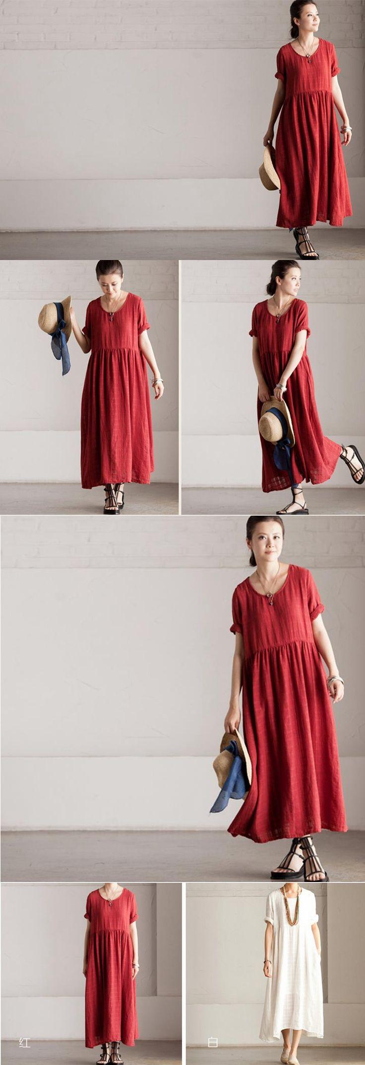 Summer Linen Fashion Red Dress -Maxi Dress Loose Cotton Tops Short Sleeve Leisure Blouse - Women's Dress- Women Clothing Q155A