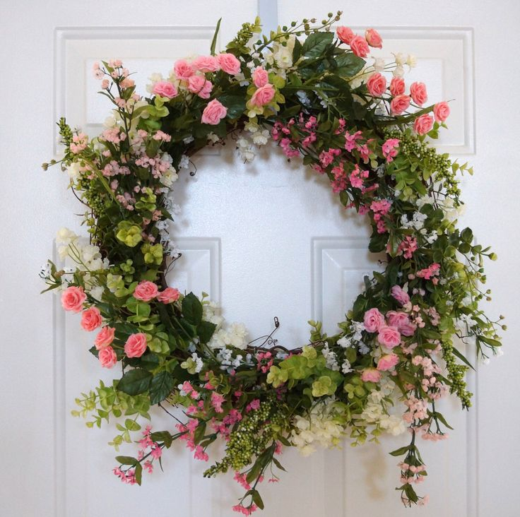 Summer Wreath, Spring Wreath, Wildflower Wreath, Pink Roses Wreath,Door Wreath, Everyday wreath, Different Colors Available by Hobby4Crafts on Etsy https://www.etsy.com/listing/187526285/summer-wreath-spring-wreath-wildflower