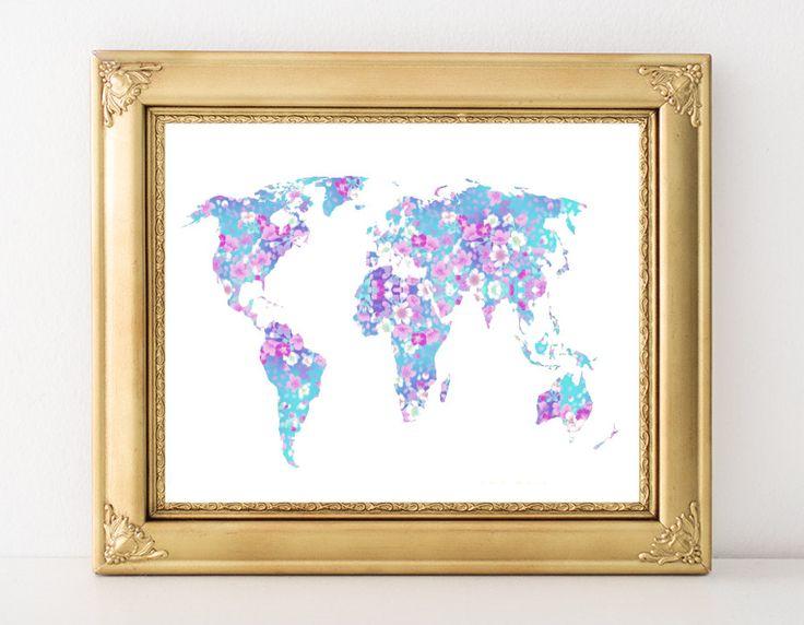 Pastel Rose World Art - Flower World Map, Floral Map Poster, Floral World Poster, Aqua World Art, Shabby Chic World Art, Digital by WatercolorArtHut on Etsy