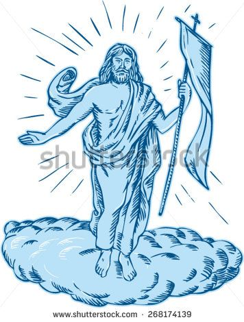 Etching engraving handmade style illustration of Jesus Christ resurrection viewed from front set on isolated white background.  - stock vector